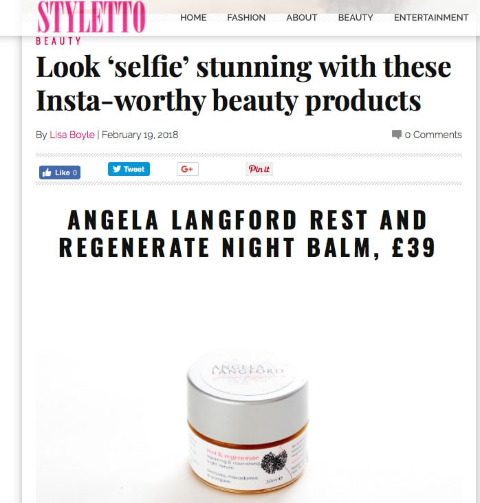 Styletto Magazine recommends natural night balm rest and regenerate by Angela Langford Skincare