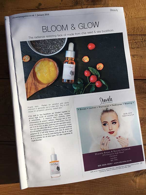 natural face oil bloom and glow recommended by chiswick magazine