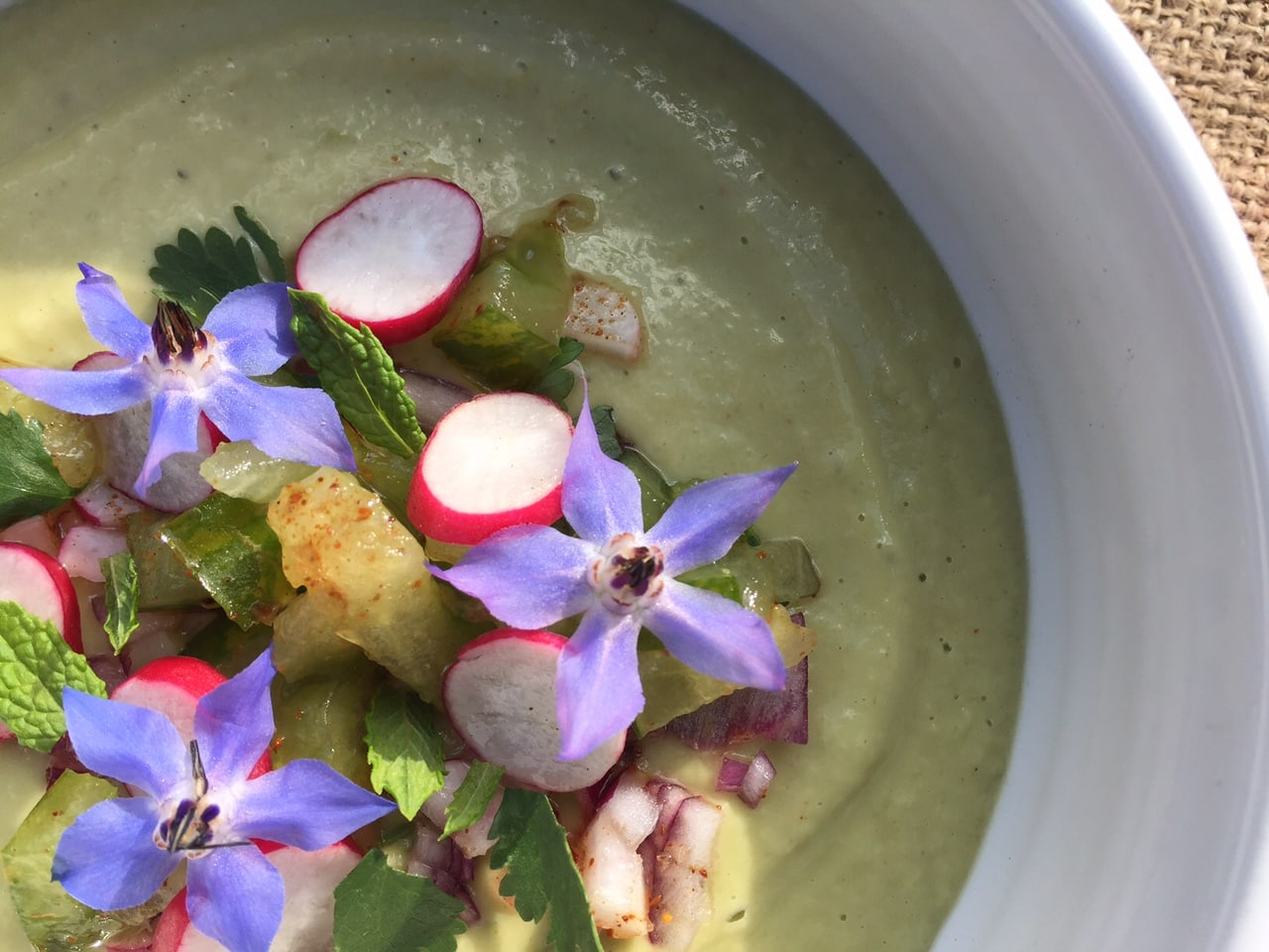 cucumber and avocado soup by Masterchef Finalist Angela Langford