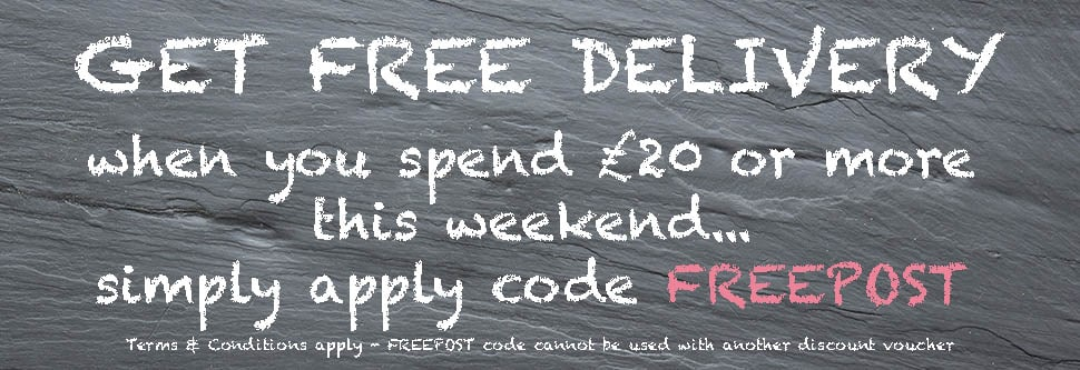 get free delivery this weekend when you spend £20 or more, with code FREEPOST