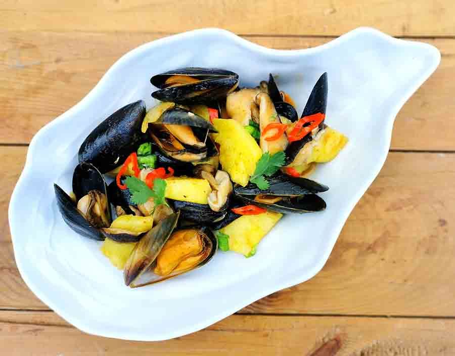 pineapple and mussel curry by Angela Langford