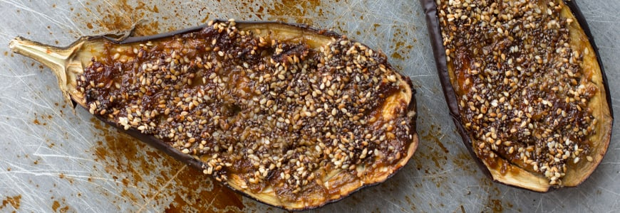 roasted chia seeds and aubergine recipe from Angela Langford